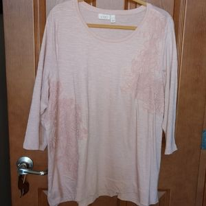 LOGO by Lori Goldstein tunic pink lace overlay XL